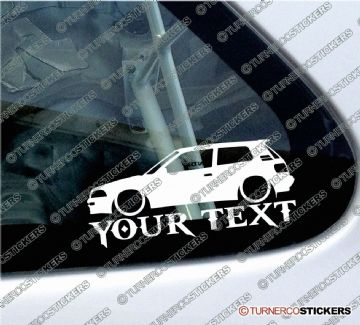2x Custom YOUR TEXT Lowered car stickers - Toyota E90 Corolla GT Twin Cam' (AE94) 3 door